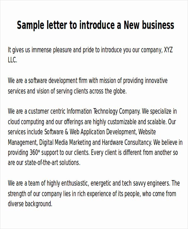 Business Introduction Letter Template New Sample New Business Letters 6 Examples In Word Pdf