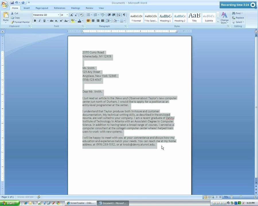 Business Letter Template Word Best Of Microsoft Word 2007 Business Letter Tutorial4