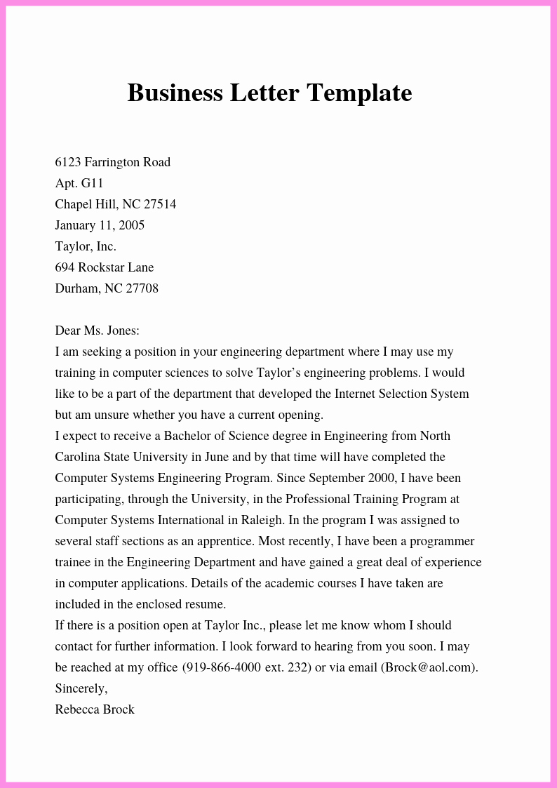 Business Letter Template Word Elegant Free Business Letter Template In Word Doc & Pdf format