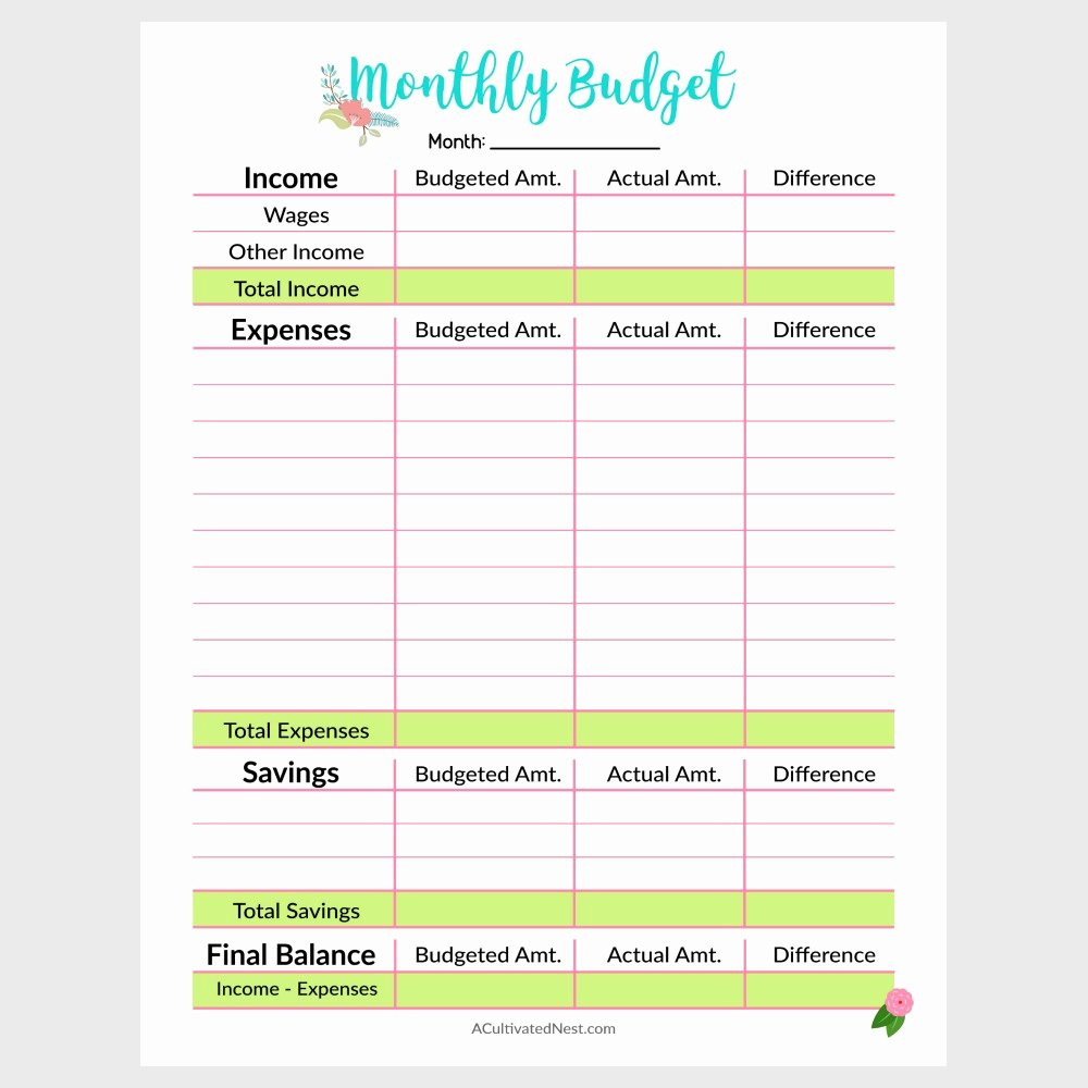 printable monthly bud templates 3372
