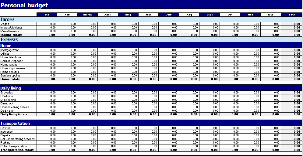 Business Monthly Budget Template New Free Printable Monthly Bud Worksheets