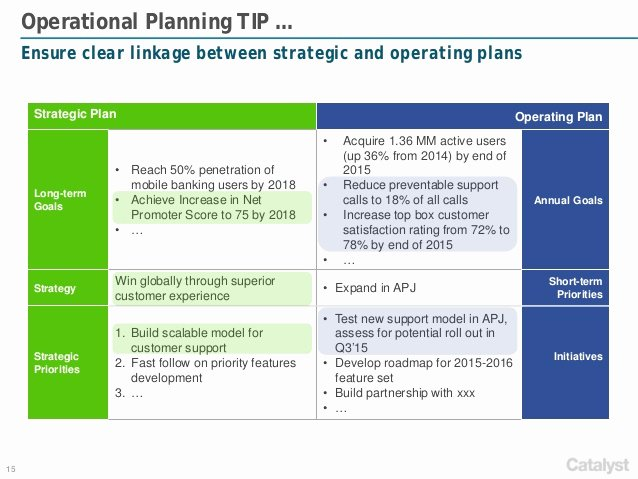 Business Operational Plan Template Lovely Catalyst Strategies Annual Operational Planning Framework