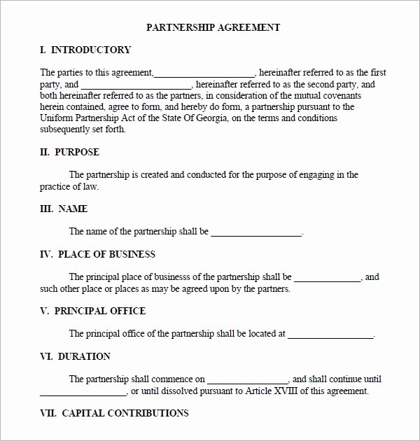 Business Partnership Agreement Template Free Best Of Business Partnership Agreement 12 Download Documents In
