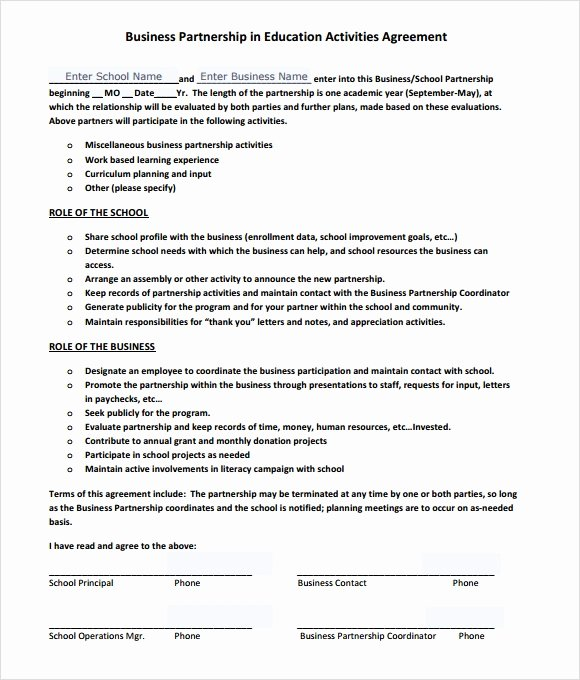 Business Partnership Agreement Template Free Best Of Sample Business Partnership Agreement – 10 Documents In