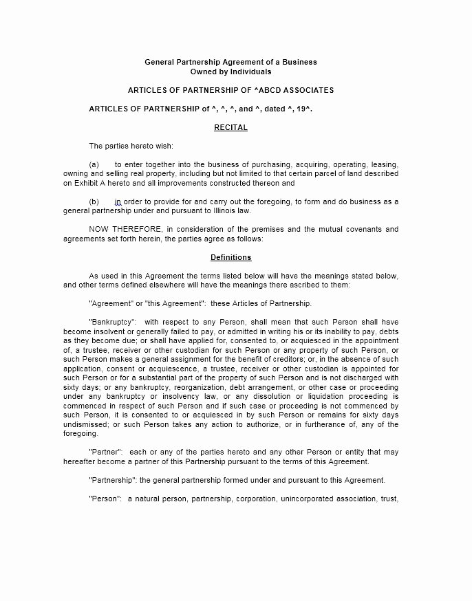Business Partnership Agreement Template Free Elegant 40 Free Partnership Agreement Templates Business