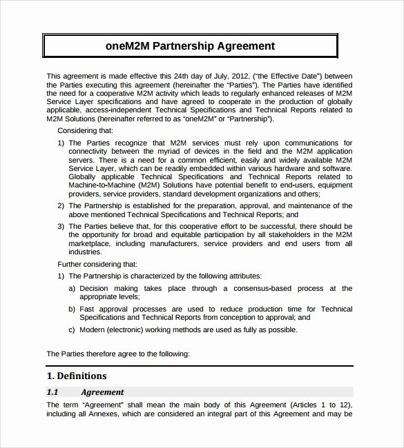 Business Partnership Agreement Template Free Elegant Sample Partnership Agreement 24 Free Documents Download