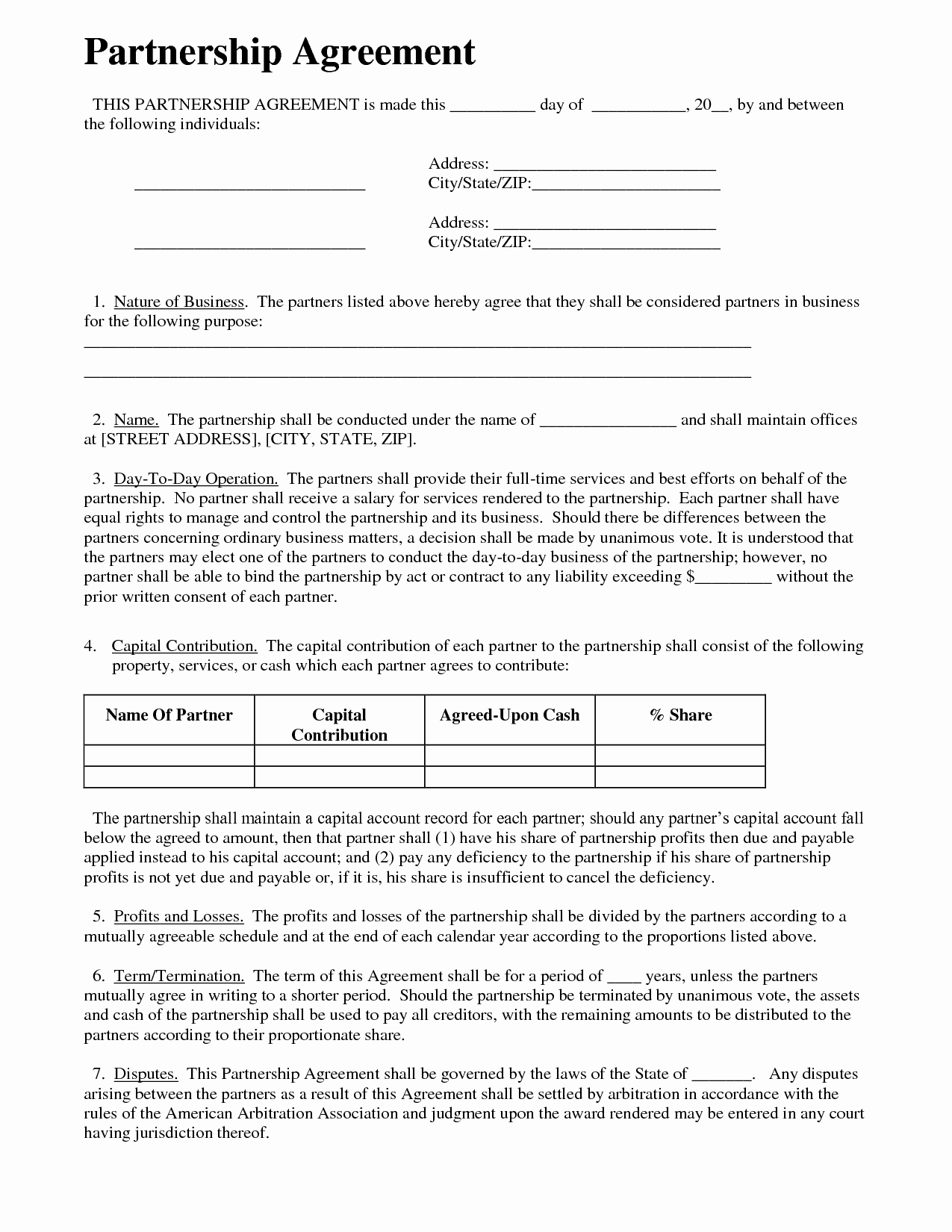 Business Partnership Agreement Template Free Inspirational Partnership Agreement Business Templates