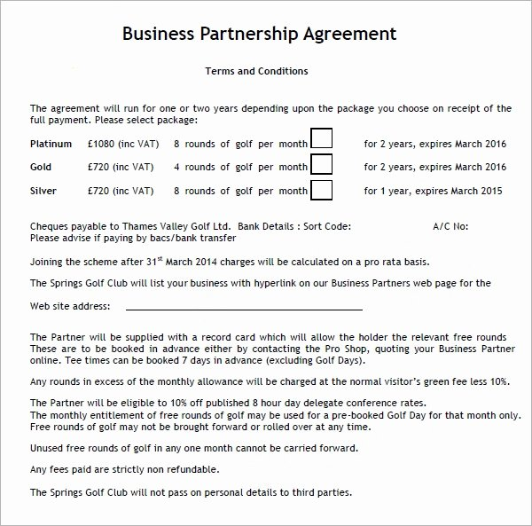 Business Partnership Agreement Template Free Lovely Business Partnership Agreement 12 Download Documents In