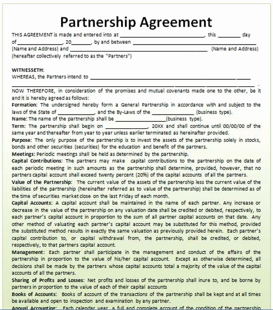 Business Partnership Agreement Template Free Lovely Partnership Agreement Template Microsoft Word Templates