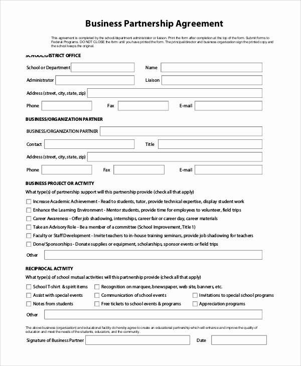 Business Partnership Agreement Template Free Lovely Sample Business form 9 Examples In Pdf Word