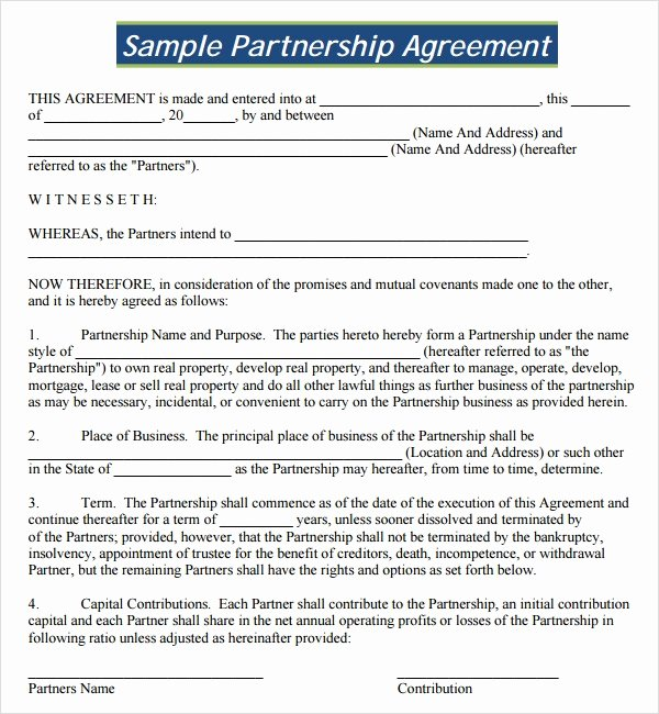Business Partnership Agreement Template Free Luxury Sample Partnership Agreement 24 Free Documents Download