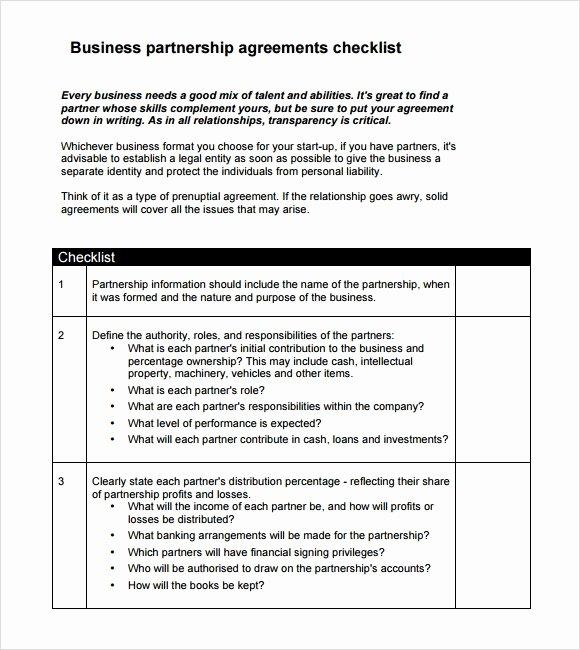Business Partnership Agreement Template Free New Sample Business Partnership Agreement – 10 Documents In