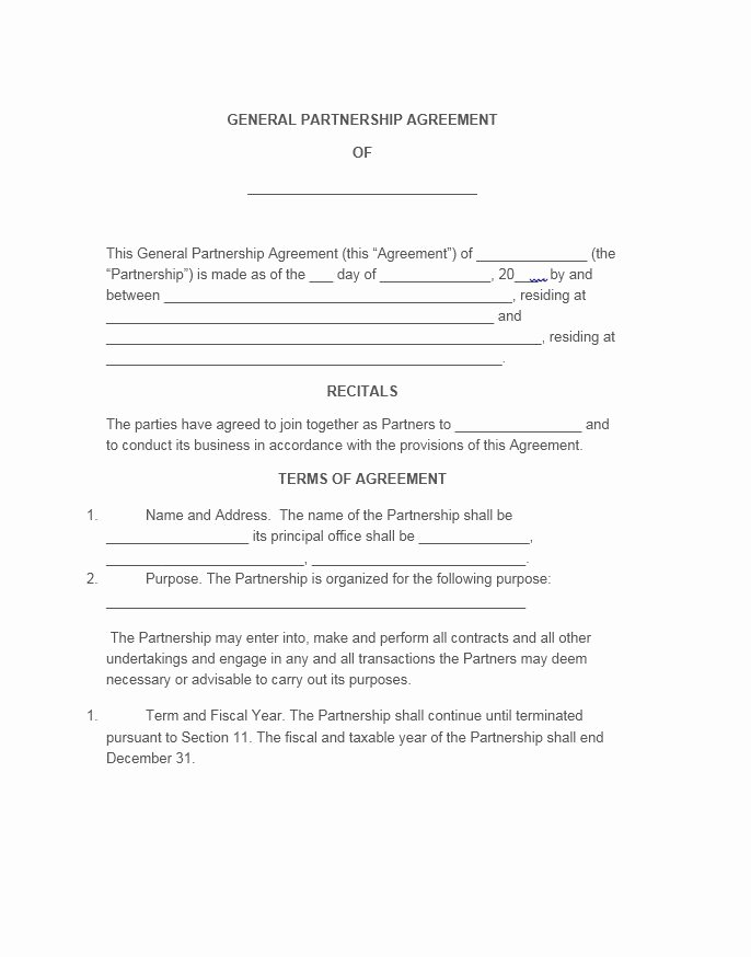 Business Partnership Agreement Template Free Unique 40 Free Partnership Agreement Templates Business General