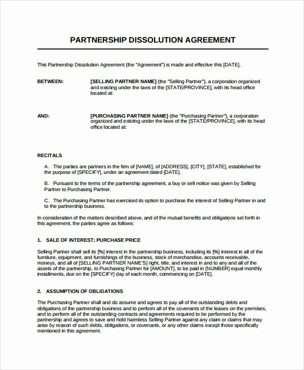 Business Partnership Separation Agreement Template Elegant 11 Dissolution Agreement Examples Pdf Word