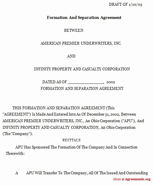 Business Partnership Separation Agreement Template Lovely formation and Separation Agreement Download Pdf