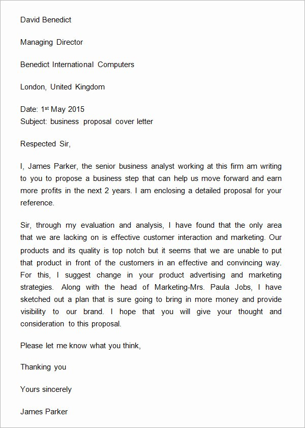 Business Proposal Letter Template Beautiful 13 Fee Proposal Letter Example