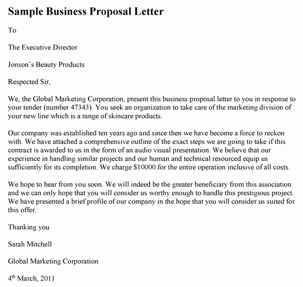 Business Proposal Letter Template Beautiful Sample Business Proposal Letter