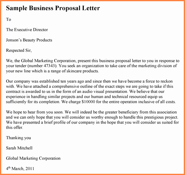 Business Proposal Letter Template Lovely 6 Drafting Business Proposal