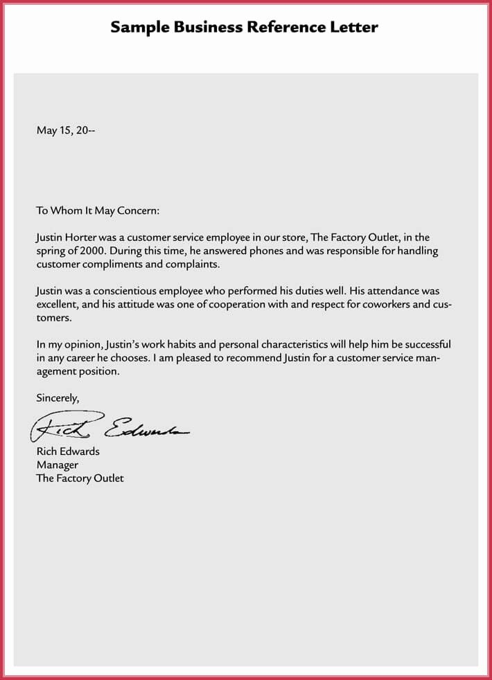 Business Reference Letter Template Inspirational formal Reference Letter 8 Samples formats Download In