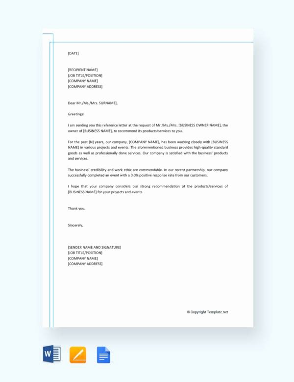 Business Reference Letter Template Inspirational Free 14 Free Business Reference Letters In Doc