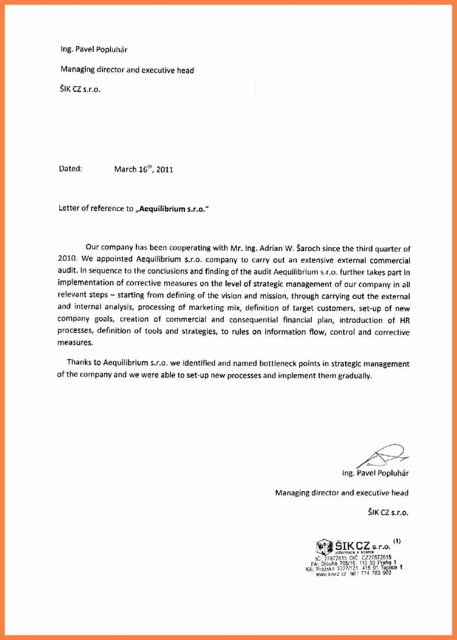 Business Reference Letter Template Unique 11 Letter Of Re Mendation Pany