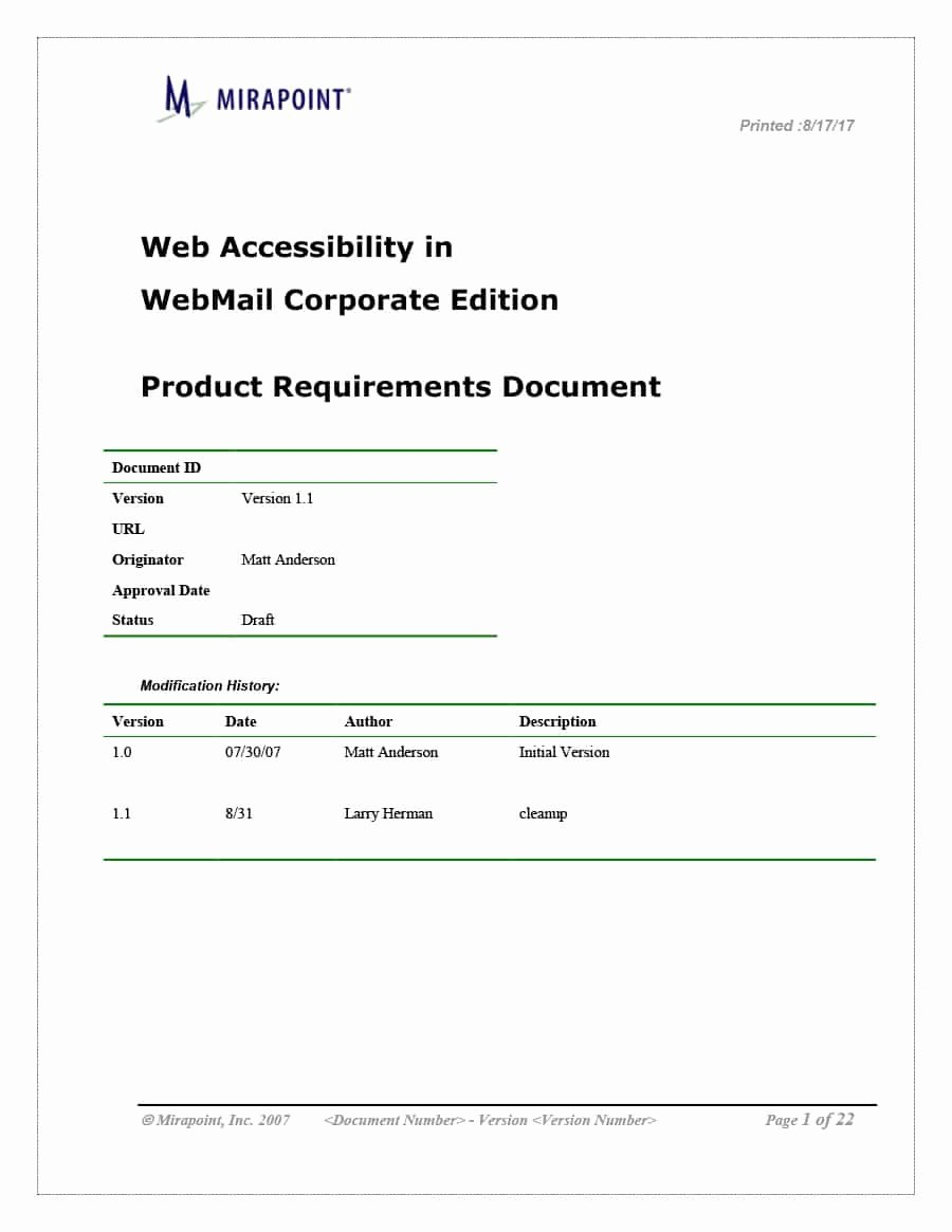 Business Requirements Document Template Beautiful 40 Simple Business Requirements Document Templates