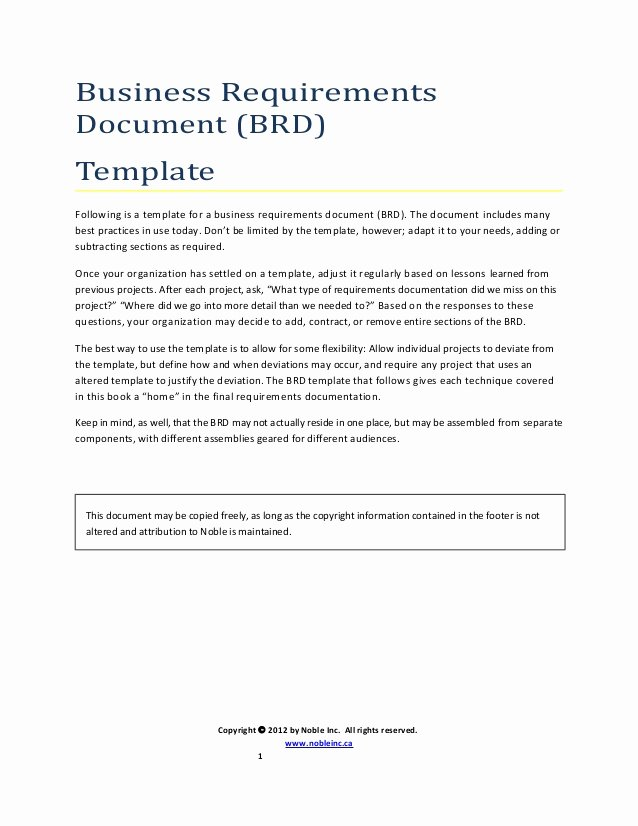 Business Requirements Document Template Best Of Brd Template Uml Noble Inc