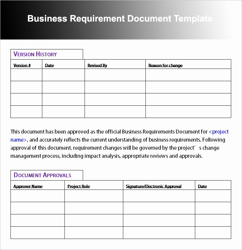 Business Requirements Document Template Fresh Business Requirement Document Template