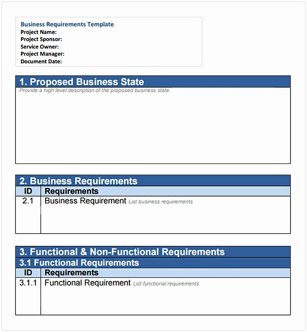 Business Requirements Document Template Fresh Business Requirements Document Example