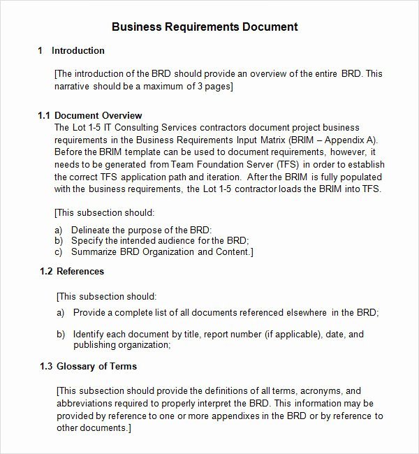 Business Requirements Document Template Fresh Free 6 Business Requirements Document Templates In Pdf