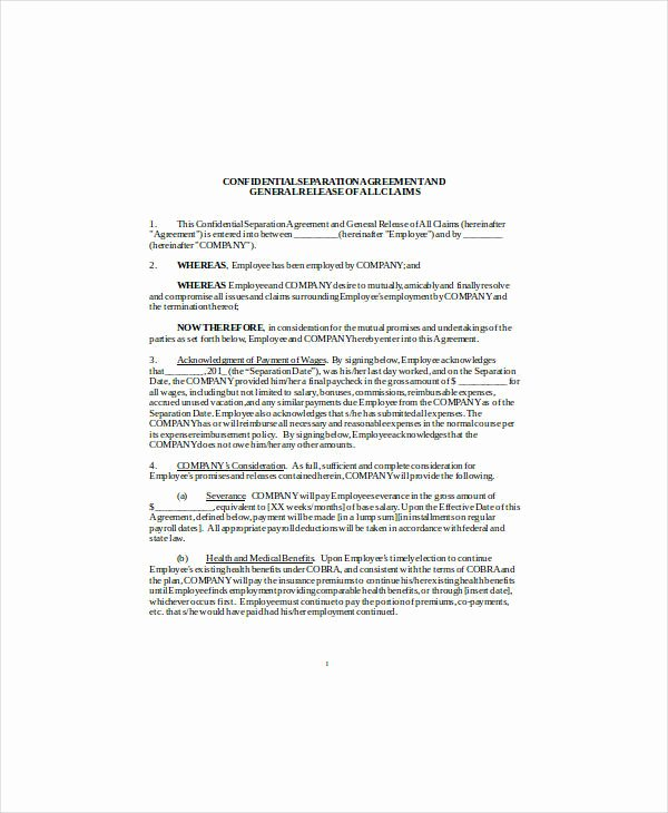 Business Separation Agreement Template Awesome 12 Sample Severance Agreement Templates Pdf Docs
