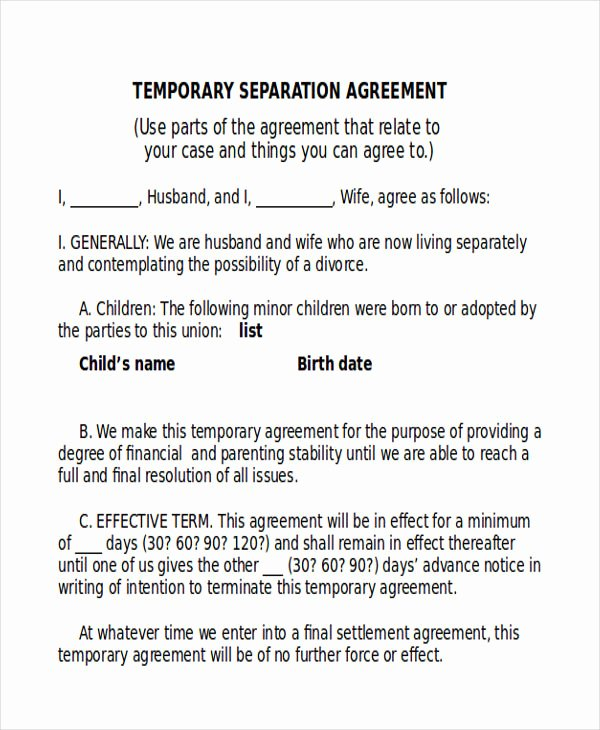 Business Separation Agreement Template Elegant 12 Sample Separation Agreements Free Sample Example