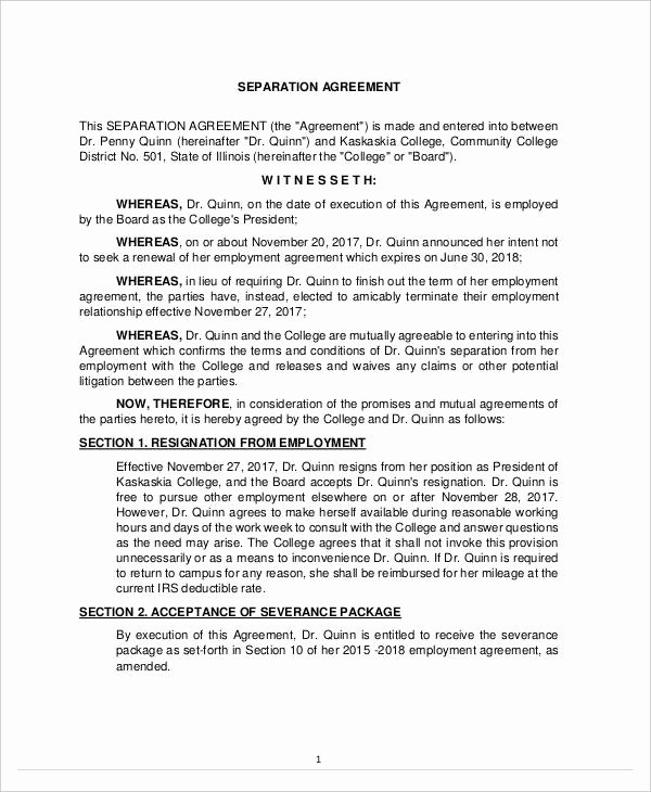 Business Separation Agreement Template Inspirational 12 Sample Severance Agreement Templates Pdf Docs