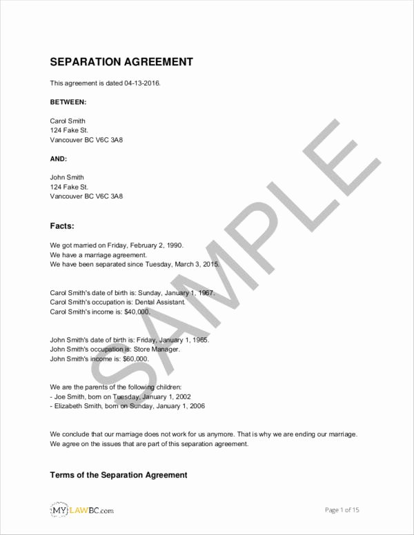 Business Separation Agreement Template Inspirational Free 11 Separation Agreement Templates In Pdf