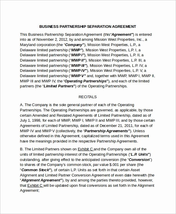 Business Separation Agreement Template Lovely Sample Business Separation Agreement Template 9 Free