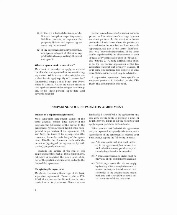 Business Separation Agreement Template New Sample Separation Agreement form 7 Examples In Word Pdf