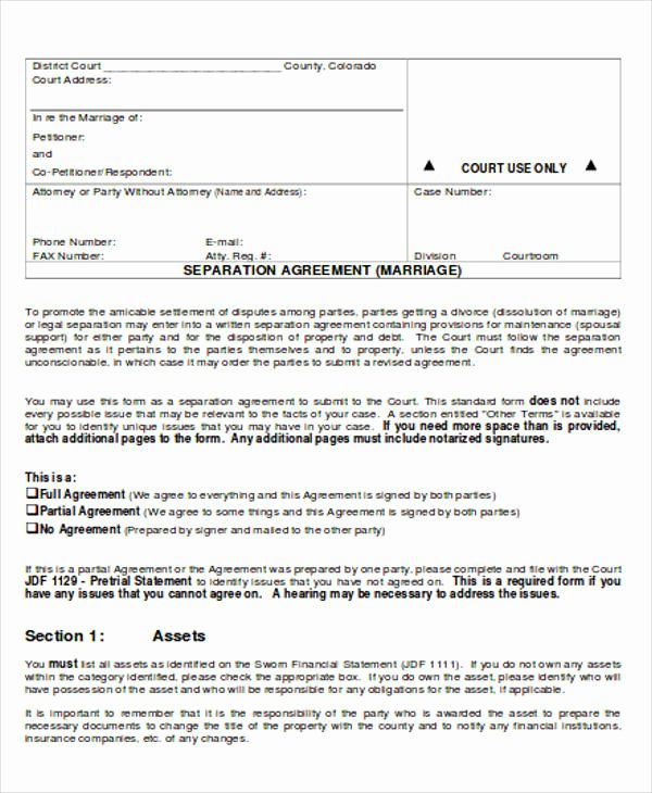 Business Separation Agreement Template Unique 12 Sample Separation Agreements Free Sample Example
