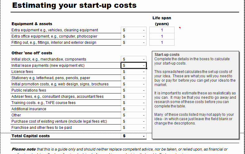 Business Startup Checklist Template Beautiful Business Start Up Costs Calculator for Excel