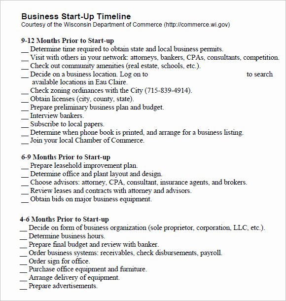 Business Startup Checklist Template Best Of Sample Business Timeline Template 8 Free Samples
