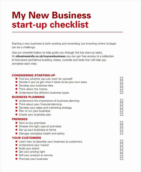 Business Startup Checklist Template Elegant 32 Checklist Templates In Pdf