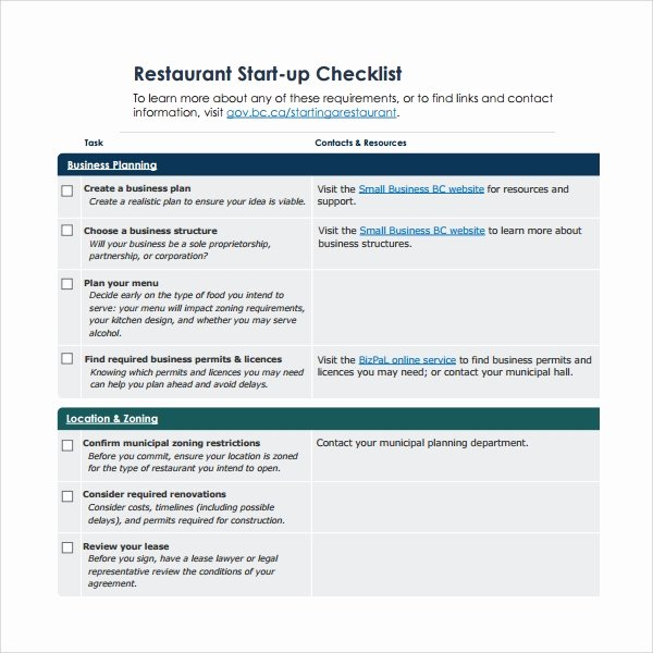 Business Startup Checklist Template Lovely Sample Restaurant Checklist Template 25 Free Documents