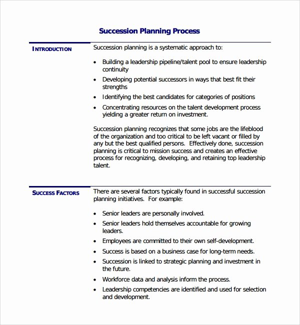 Business Succession Plan Template Beautiful Sample Succession Planning Template 9 Free Documents In