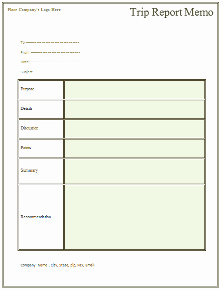 Business Trip Report Template Lovely Trip Report Memo Template for Business Trips