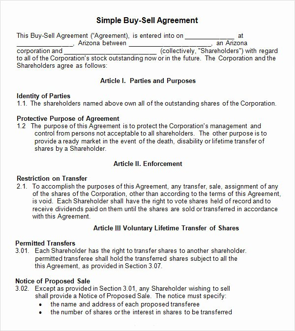 sell agreement template