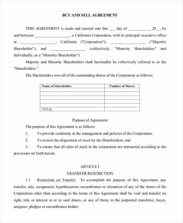 Buy Sell Agreement Template Beautiful Free 8 Sample Buy Sell Agreement forms In Word Pdf