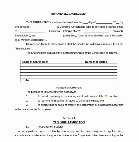 Buy Sell Agreement Template Fresh 25 Buy Sell Agreement Templates Word Pdf