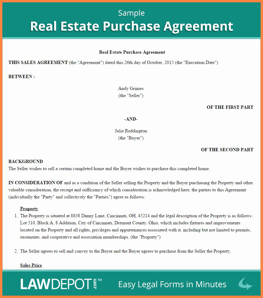 Buy Sell Agreement Template Fresh 3 Real Estate Sell Agreement Template