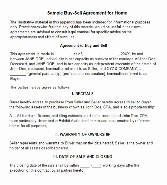 Buy Sell Agreement Template Fresh Home Buyout Agreement Template