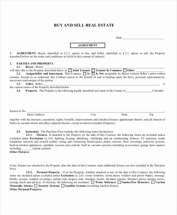 Buy Sell Agreement Template Fresh Sample Real Estate Agreement form 8 Free Documents In Pdf