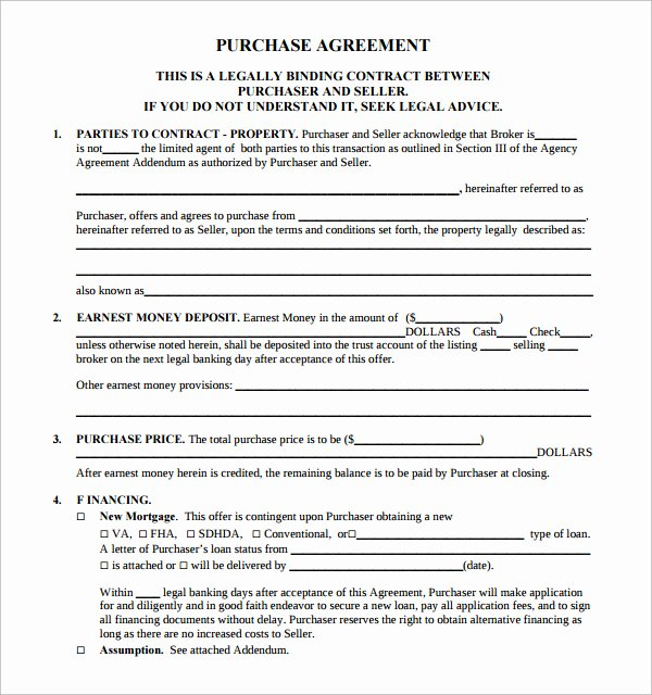 Buy Sell Agreement Template Fresh Sample Real Estate Purchase Agreement